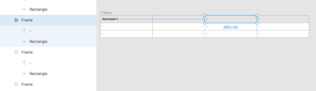 Структура таблицы в Figma