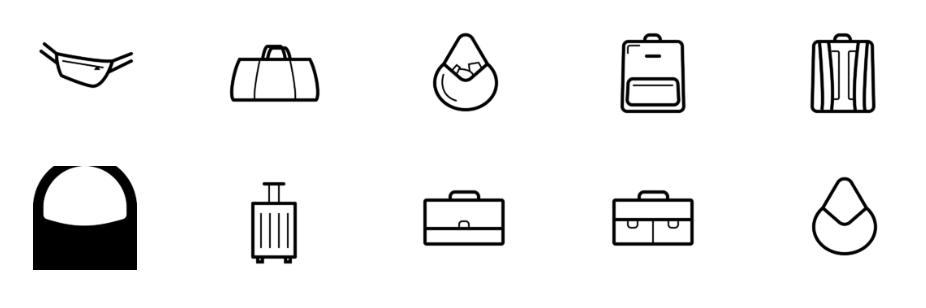 Иконки с сумками, рюкзаками и портфелями